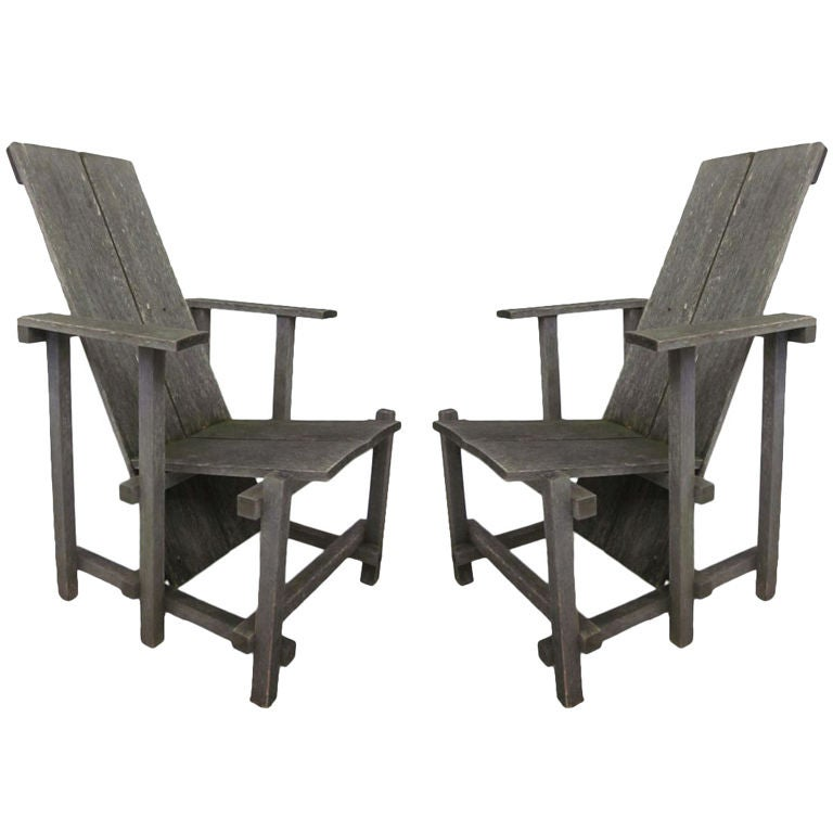 Pair of Modern Lounge / Garden Chairs in the Style of Gerrit Rietveld
