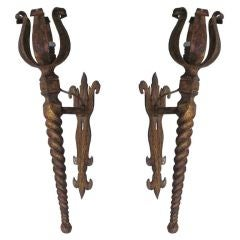 Pair French Mid-Century Modern Neoclassical Gilt Iron Torch Sconces, Poillerat