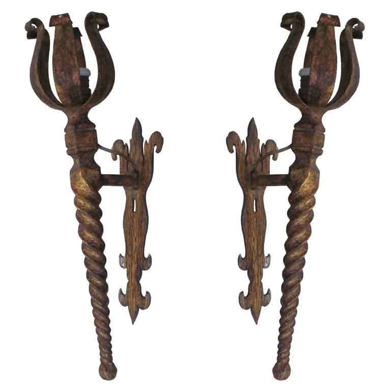 Pair French Mid-Century Modern Neoclassical Gilt Iron Torch Sconces, Poillerat For Sale