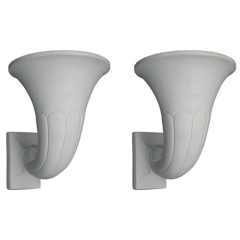 2 Pairs of French Modern Neoclassical Plaster Horn Sconces, Attr. Andre Arbus