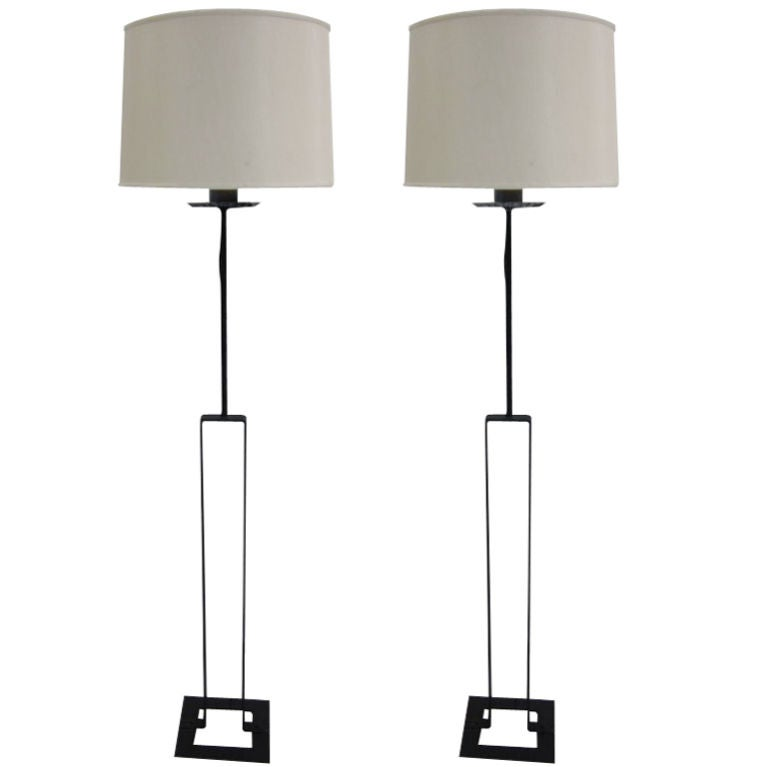 Pair of French Modern Wrought Iron Floor Lamps
