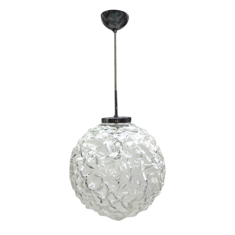 Italian 1970s Glass Ball Pendant Attributed to Mazzega