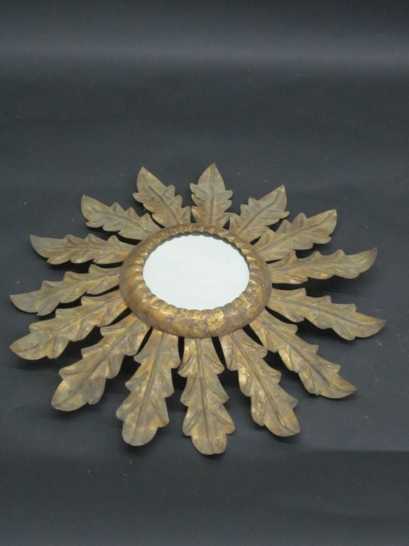 Mid-Century Modern French 1940s Gilt Iron Mirror in the Form of Sunburst For Sale