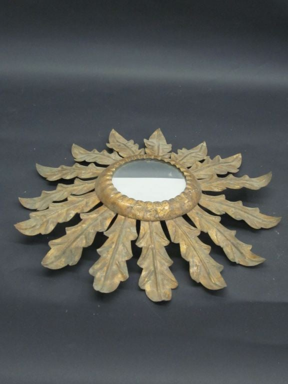 French 1940s Gilt Iron Mirror in the Form of Sunburst In Good Condition For Sale In New York, NY