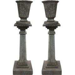 Pair of French Modern Neoclassical Stone Columns with Urns as Floor Lamps