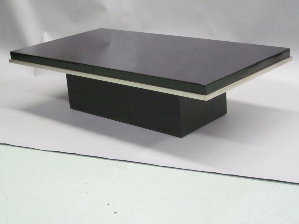 Elegant Italian Black Lacquer And Nickel Cocktail Table At 1stdibs