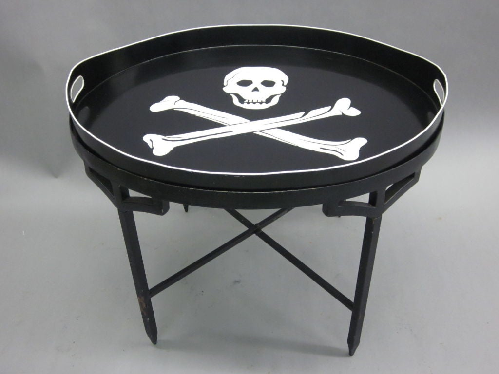 French mid century tin coffee table with skull and cross bones french mid century tin coffee table with skull and cross bones serving tray 2 geotapseo Gallery