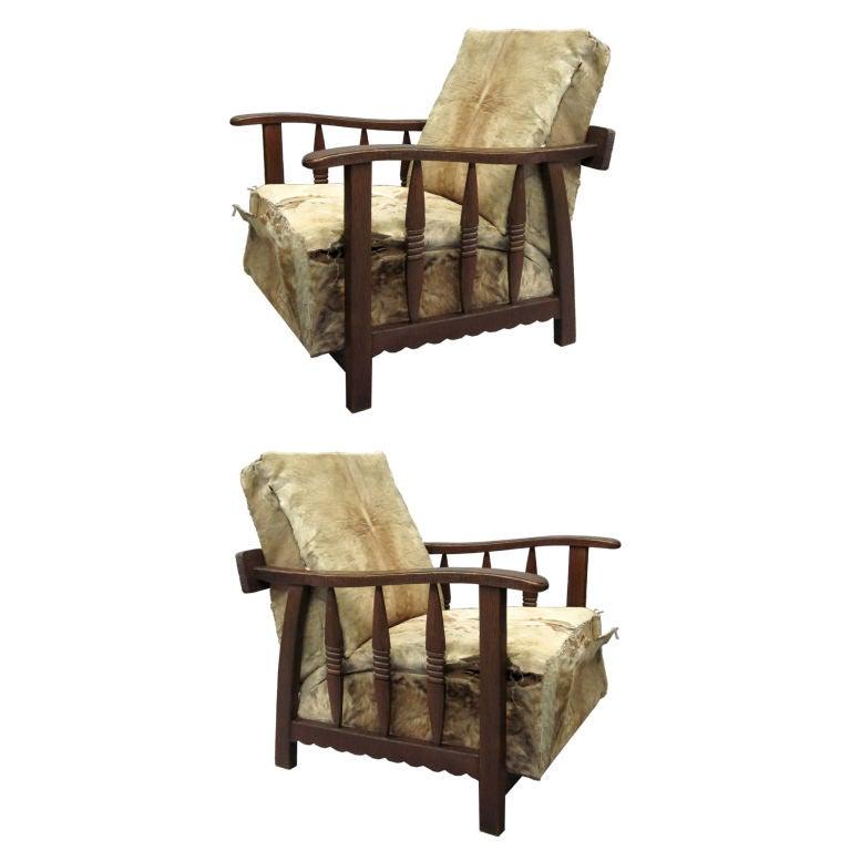 Pair of Italian Mid-Century Modern Craftsman Lounge Chairs by Pierluigi Colli
