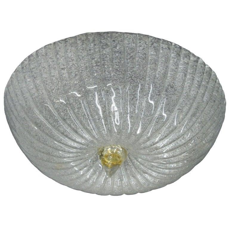 Murano Glass Flush Mount Fixture Attributed to Barovier