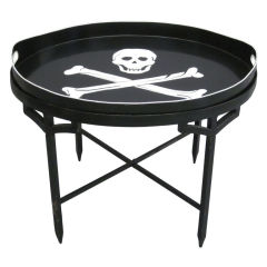 French Mid-Century Iron Coffee Table with Tole Skull & Cross Bones Serving Tray
