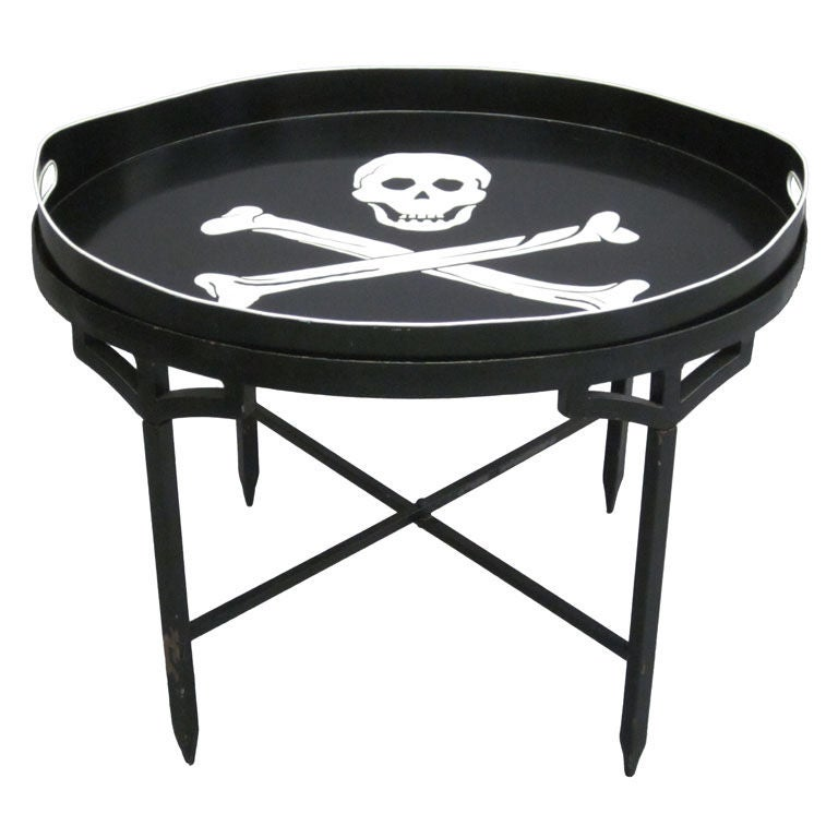 French Tin Cocktail Table With Detachable Scull And Cross Bones Serving Tray At 1stdibs