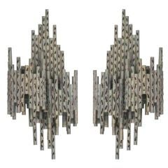 Pair of French Mid-Century  Modern Perforated Iron Sconces Attr. Maria Pergay