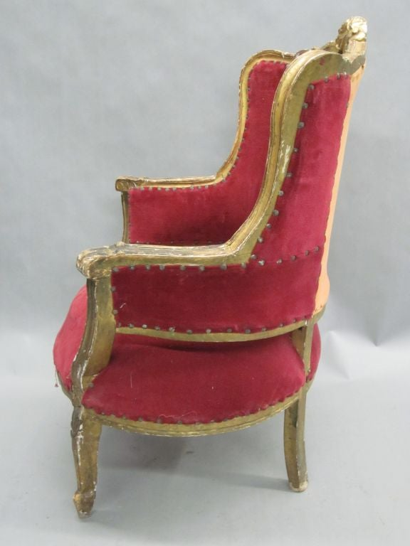 Upholstery Pair of Louis XIV Style Italian Gilt Wood Wing Back Lounge Chairs, 1930 For Sale