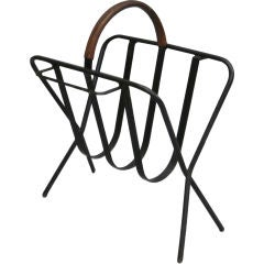 French Mid-Century Modern Leather & Iron Magazine Stand in Style Jacques Adnet