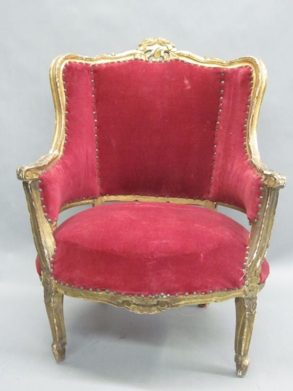 Pair of Louis XIV Style Italian Gilt Wood Wing Back Lounge Chairs, 1930 2