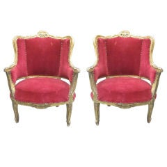 Pair of Louis XIV Style Italian Gilt Wood Wing Back Lounge Chairs, 1930