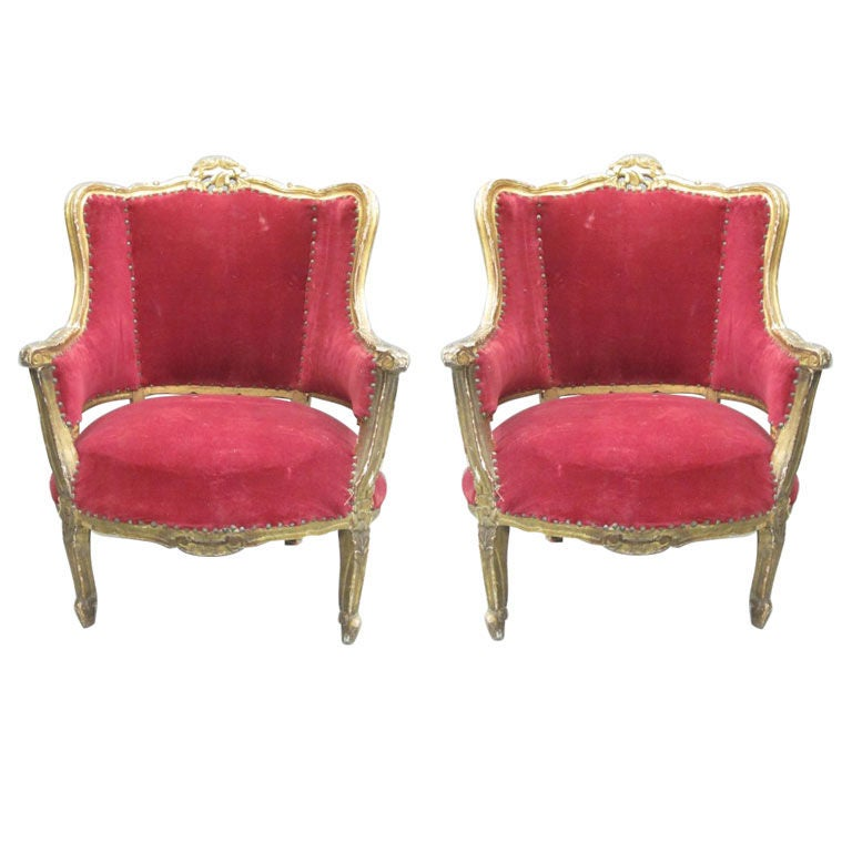 Pair of Louis XIV Style Italian Gilt Wood Wing Back Lounge Chairs, 1930 For Sale