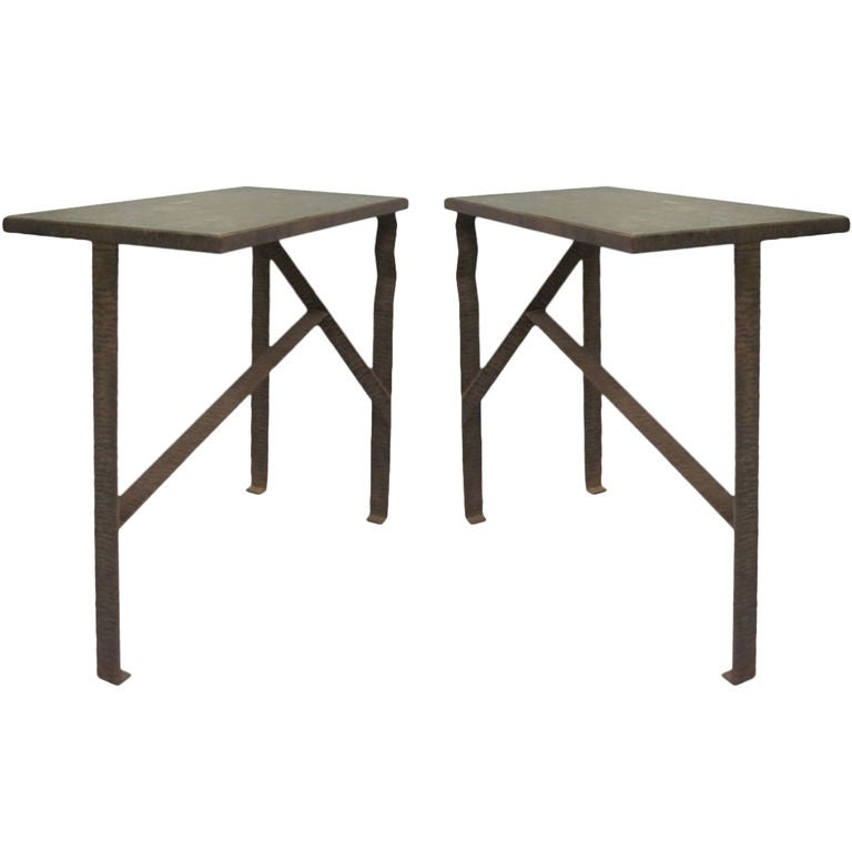 Pair of Unique French Art Deco End Tables or Consoles Attributed to Paul Kiss For Sale