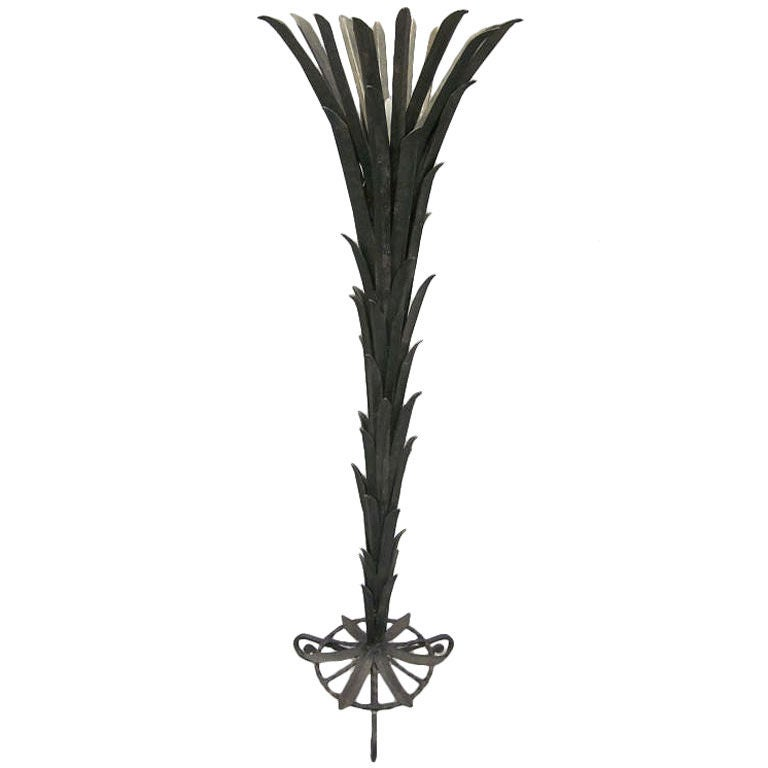 French Art Deco Palm Frond Floor Lamp by Edgar Brandt