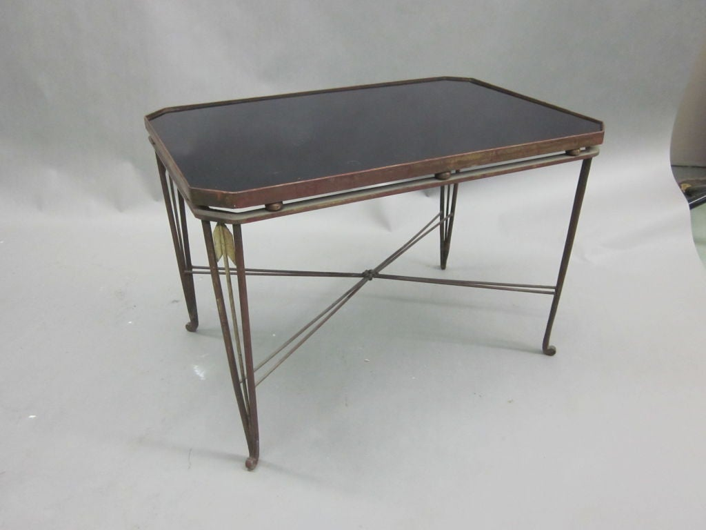 Rare french modern neoclassical gilt wrought iron coffee table by maison jansen for sale at 1stdibs Wrought iron coffee tables