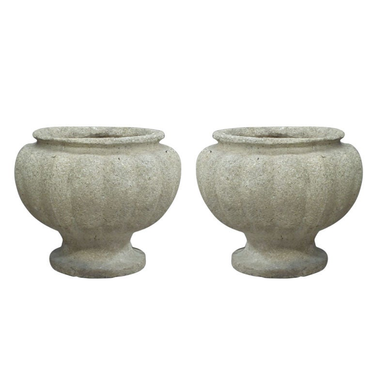 Pair of French Stone Table Lamps in the Form of Urns