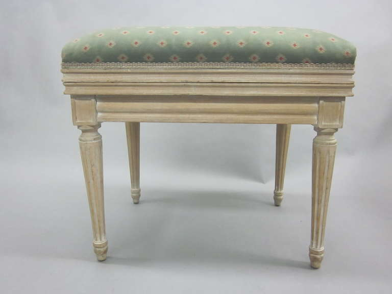 Carved Pair of French Mid-Century Louis XVI Style Cerused Oak Benches /Stools, JM Frank For Sale