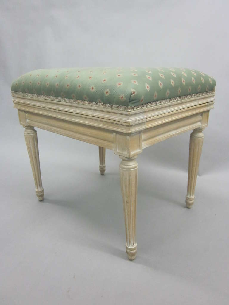 Upholstery Pair of French Mid-Century Louis XVI Style Cerused Oak Benches /Stools, JM Frank For Sale