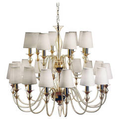 Modern Neoclassical Double-Tier Murano Glass Chandelier
