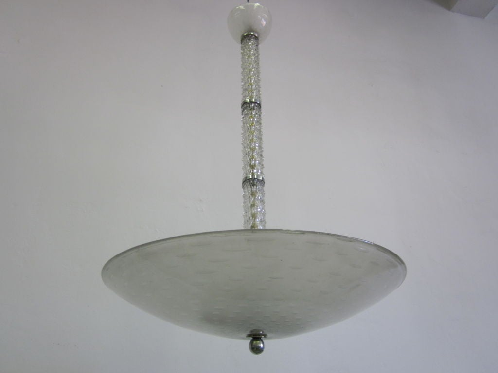 Mid-Century Modern Mid-Century Clear Murano / Venetian Glass Chandelier / Pendant by Barovier, 1940 For Sale