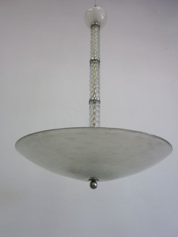 Italian Mid-Century Clear Murano / Venetian Glass Chandelier / Pendant by Barovier, 1940 For Sale