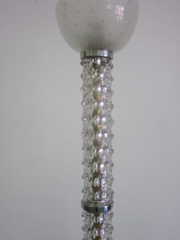 Mid-Century Clear Murano / Venetian Glass Chandelier / Pendant by Barovier, 1940 For Sale 1
