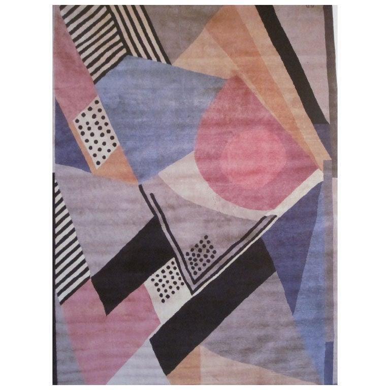 An important French Mid-Century Modern thick pile carpet in wool known as