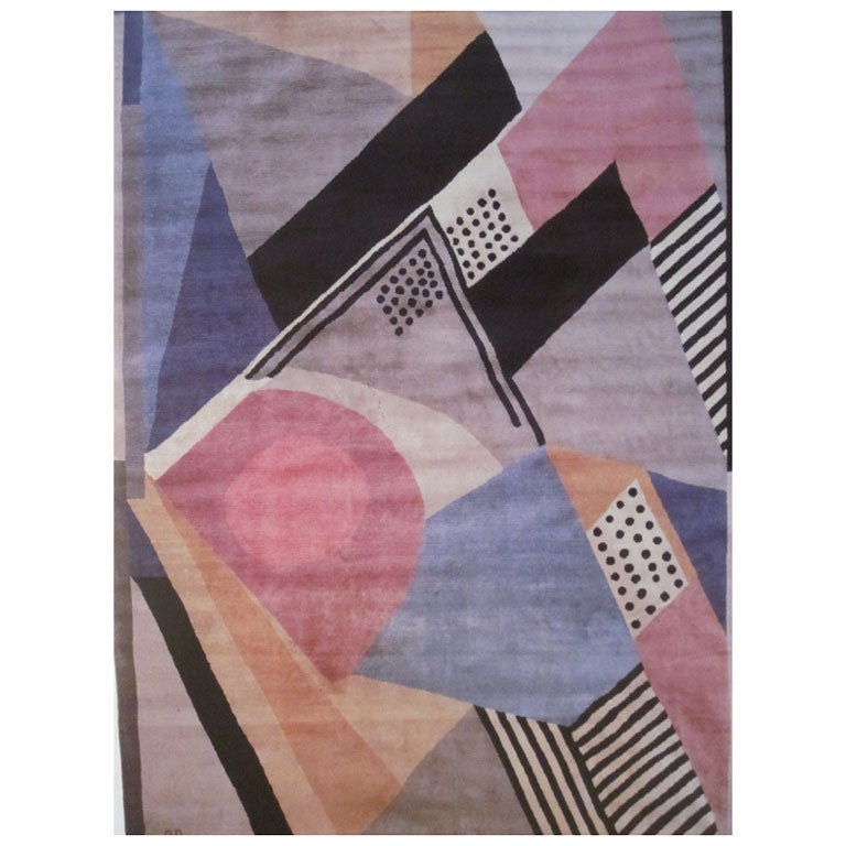 """French Early Modern, Cubist, Art Deco """"1930"""" Wool Carpet by Sonia Delaunay For Sale"""