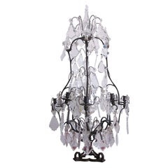 French Mid-Century Modern Crystal Table Chandelier/ Girandole by Maison Baguès