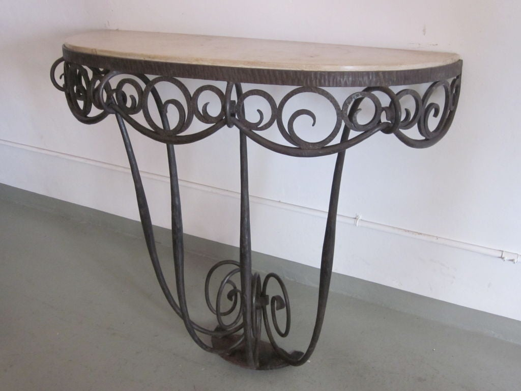 French Art Deco Hand Hammered iron and Marble Wall Console by Edgar Brandt In Good Condition For Sale In New York, NY