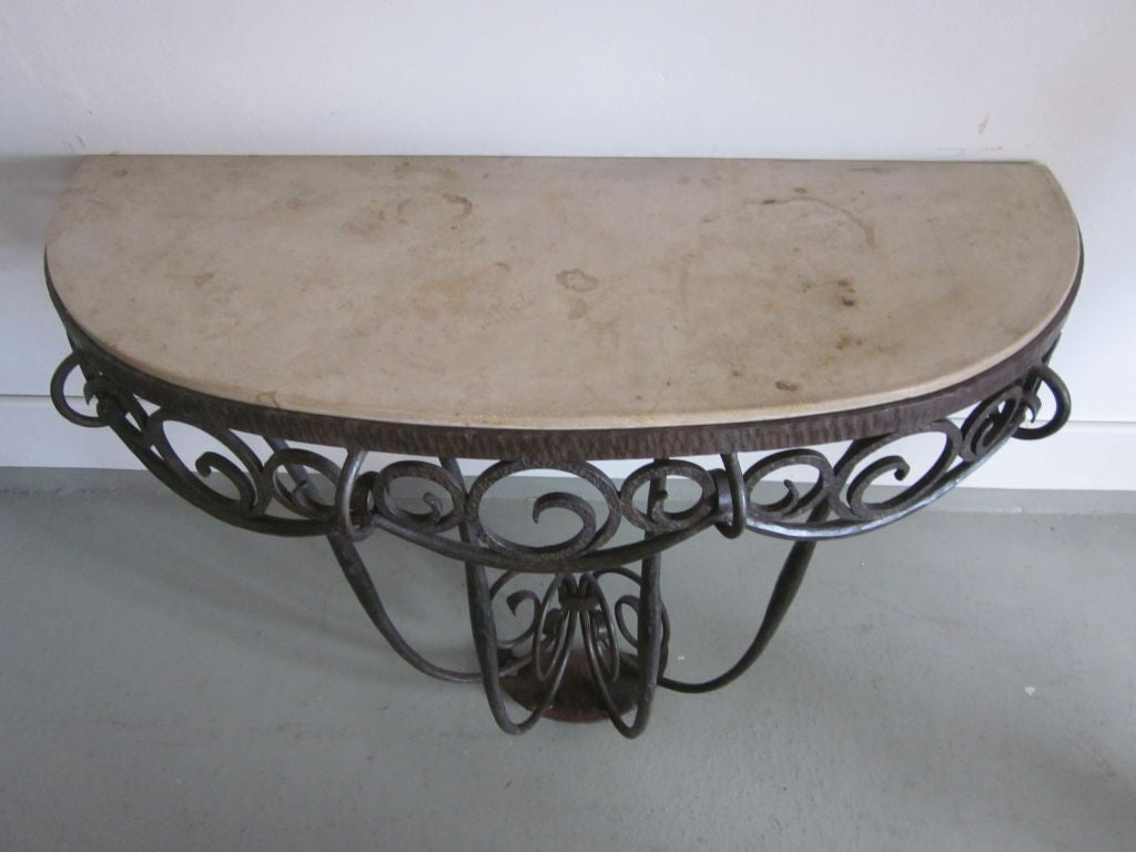 Early 20th Century French Art Deco Hand Hammered iron and Marble Wall Console by Edgar Brandt For Sale