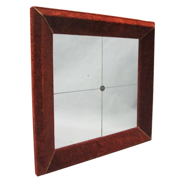 Rare Italian Mid-Century Modern Antique Velvet Framed Venetian Mirror