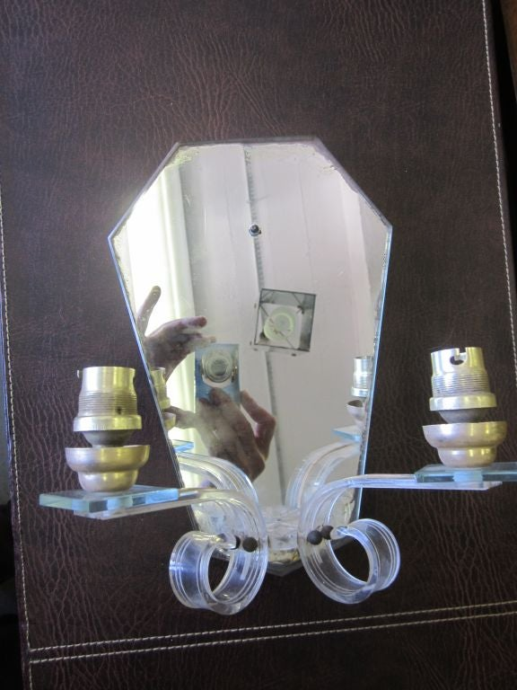 Pair of French, 1940s Mirrored Sconces 1