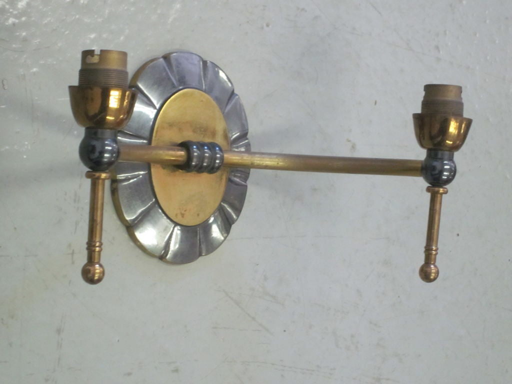 Mid-20th Century Pair of French Mid-Century Modern Neoclassical Double Arm Wall Sconces For Sale