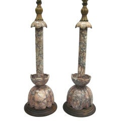 Exceptional Pair of Modern Neoclassical Italian Marble Table Lamps