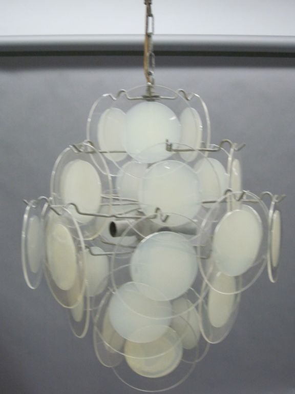 Late 20th Century Italian Mid-Century Modern Disc Chandelier by Vistosi For Sale