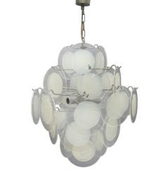 Italian Mid-Century Modern Disc Chandelier by Vistosi