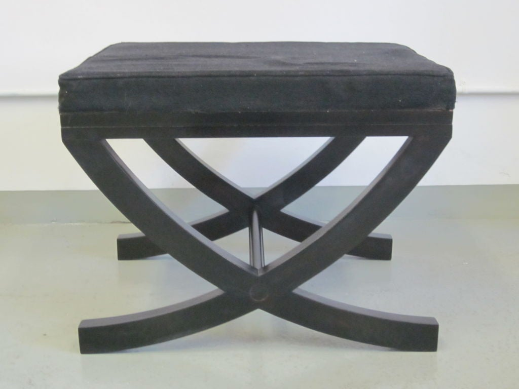Sober, elegant pair of French curile form benches / stools in ebonized wood in the modern neoclassical spirit.