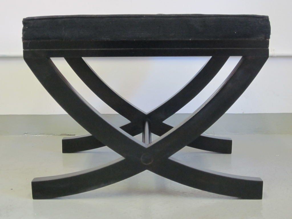 Mid-Century Modern Pair of French X-Frame Benches / Stools in the Style of André Arbus For Sale