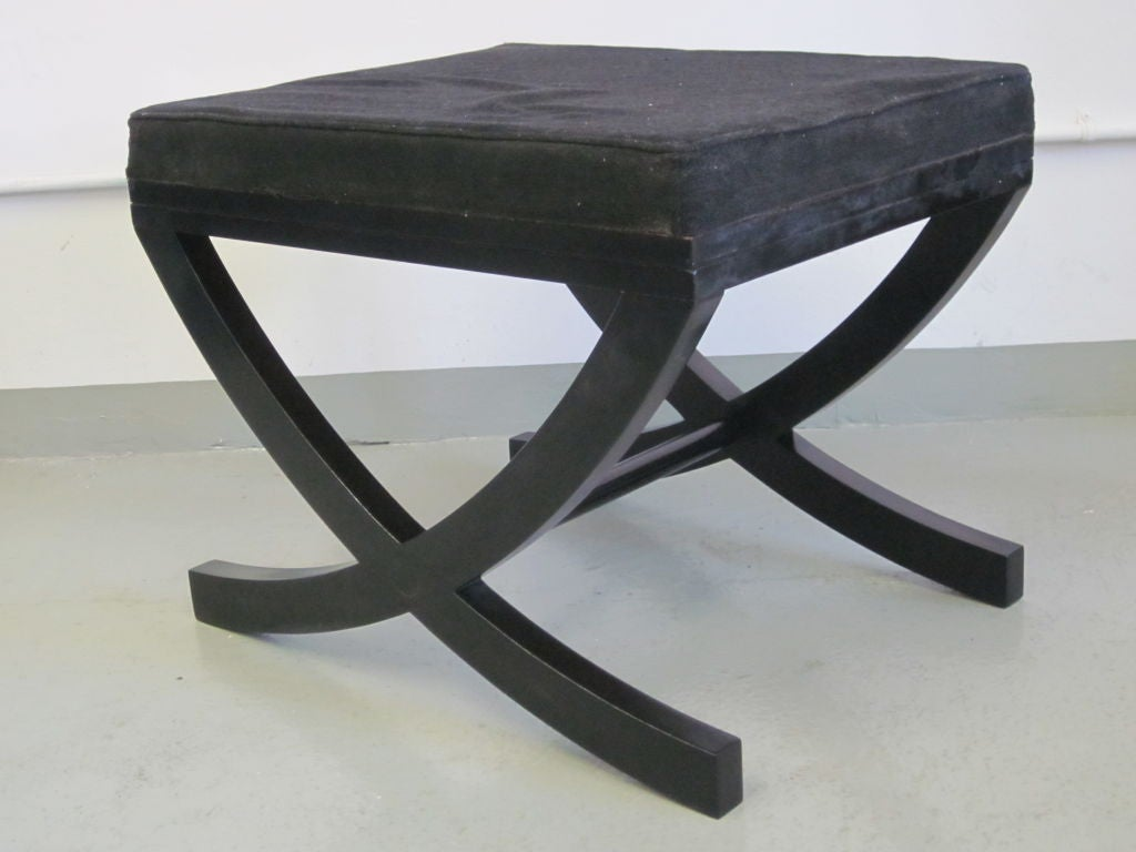 Pair of French X-Frame Benches / Stools in the Style of André Arbus In Good Condition For Sale In New York, NY