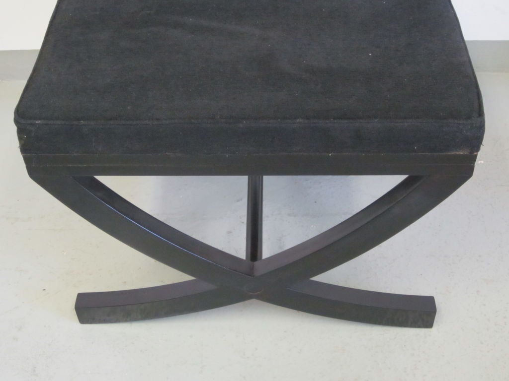 Late 20th Century Pair of French X-Frame Benches / Stools in the Style of André Arbus For Sale