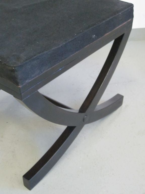 Pair of French X-Frame Benches / Stools in the Style of André Arbus For Sale 3