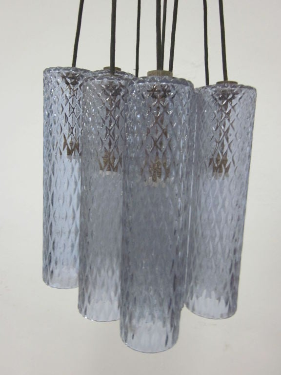 Subtle Light Blue Murano Glass Columnar Chandelier Attributed to Seguso 4