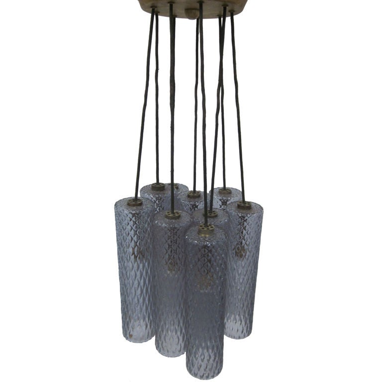 Subtle Light Blue Murano Glass Columnar Chandelier Attributed to Seguso