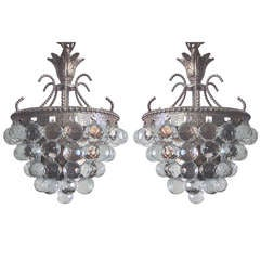 2 Modern Neoclassical Silver and Crystal Viennese Pendants / Chandeliers